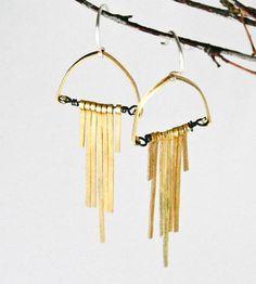 { Art Deco Fringe Brass Earrings }