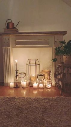 Here is a post related with fireplaces. Antique Fireplace Mantels, Fireplace Logs, Candles In Fireplace, Home Candles, Fireplace Design, Fireplace Ideas, Antique Mantel, Fireplaces, Christmas Fireplace Mantels