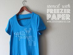 T-shirt using stencil with freezer paper at  http://www.stayathomeartist.com/2011/07/stencil-with-freezer-paper-harry-potter.html