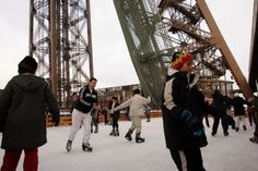 now this I would like to try.  Ice skating on the first floor of the   Eiffel Tower.
