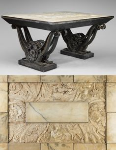RAYMOND SUBES Wrought iron table with an alabaster carved top featuring an African landscape, made for the Colonial Exposition of 1931.