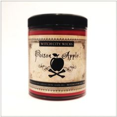 Poison Apple scented soy candle 6 oz unique by WitchCityWicks ($11) ❤ liked on Polyvore featuring home, home decor, candles & candleholders, apple scented candles, apple candle, soy wax candles, scented candles and scented soy wax candle