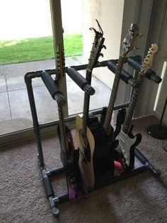 diy pvc multiple guitar stand guitar stand and guitars. Black Bedroom Furniture Sets. Home Design Ideas