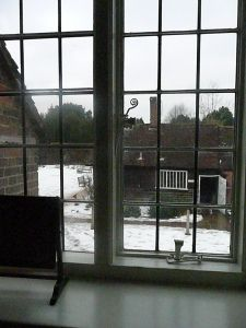 The view from Jane Austen's Bedroom at Chawton in the winter