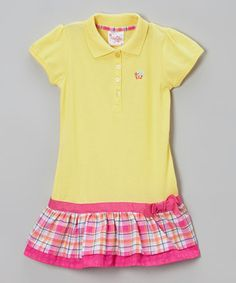 Look at this #zulilyfind! Yellow Plaid Drop-Waist Polo Dress - Toddler & Girls by Longstreet #zulilyfinds