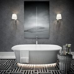 Dream bathtub can be equipped with a remote-controlled LED light therapy integrated under the bathtub. This type of light is designed to produce very relaxing halo that can also serve as mood lighting at night Bathtub Tray, Clawfoot Bathtub, Grey Bathrooms, Beautiful Bathrooms, Mood Light, Night Light, Led Light Therapy, 3d Studio, Types Of Lighting