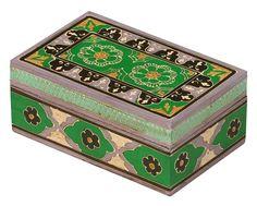 "Forever Yours – Green & Black Hand Painted 7"" Wooden Jewelry Box / Treasure Chest / Keepsake Box - Decorative Rectangular Gift Storage Box – Loving & Romantic Gifts - Buy in Bulk Wholesale"