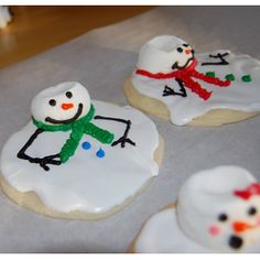 Melted Snowman Cookies  Christmas Desserts - Cookies