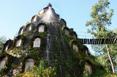 """""""The Hobbit Hotel""""- the Magic Mountain Hotel in Patagonia, Chile.  There are swinging wooden bridges and waterfalls in the middle of a vast rainforest."""
