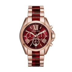 Michael Kors Bradshaw Chronograph Rose Gold & Burgundy Bracelet (MK6270) - The Watches Men & Co - 1