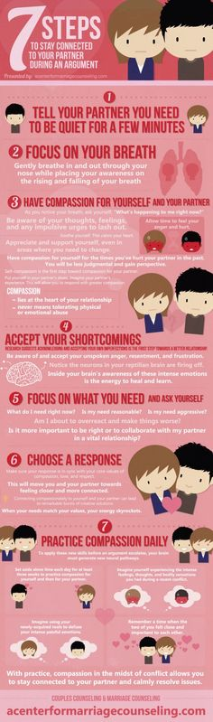 Stay Connected to Your Partner During an Argument- Constantly arguing with your partner? Arguments destroy relationships with harsh words and toxic emotions. Learn a better way to work through issues together, peacefully and thoughtfully. Seven easy steps for resolving arguments quickly with this infographic. #infographic