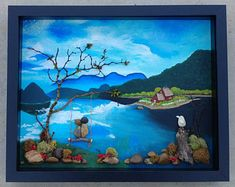 Pebble Art Rock Art Pebble Art Couple Rock Art Couple in Twig Art, Pebble Art Family, Cool Art Projects, Mosaic Diy, Paint Background, Shell Art, Rock Crafts, Nature Decor, Couple Art