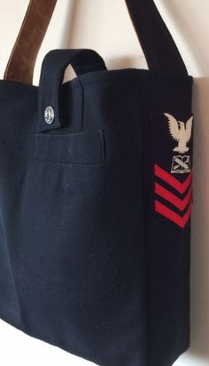 upcycled military navy uniform tote bag by Functional Art Nancy Klapmeier by FunctionalArtWA on Etsy https://www.etsy.com/listing/208721120/upcycled-military-navy-uniform-tote-bag