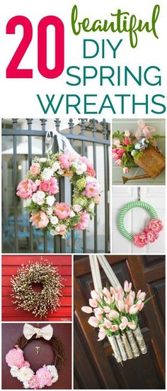 20 beautiful DIY Spring Wreaths that you can make yourself! Diy Spring Wreath, Diy Wreath, Wreath Ideas, Holiday Wreaths, Holiday Fun, Silk Flower Wreaths, Diy Home Decor Projects, Crafty Projects, Diy Door