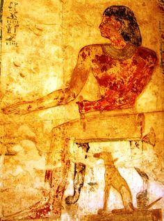 Dogs in Ancient Egypt, Mural of 26th Dynasty Official Pabasa with his dog Hekenu under his chair.