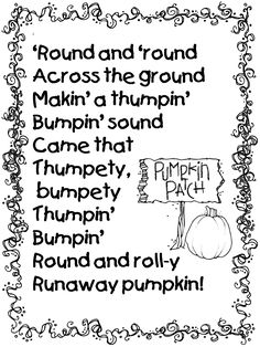 Pumpkin Poem from Runaway Pumpkin Book