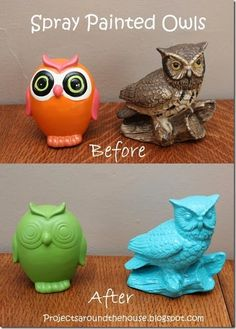 spray painted owls @Lindsay Livingston Sonntag