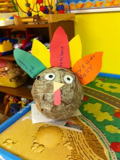 Paper mache turkey affix with pipe cleaners on the back to make stand up straight