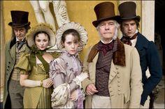 The Dorrit Family (James Fleet as Frederick Dorrit, Emma Pierson as Fanny Dorrit, Claire Foy as Amy Dorrit, Tom Courtenay as Mr. Dorrit, and Arthur Darvill as Tip Dorrit)