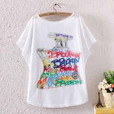 NEW FASHION SUMMER WOMEN BATWING SLEEVE WISH BOTTLE GRAPHIC PRINTED T SHIRT TOPS