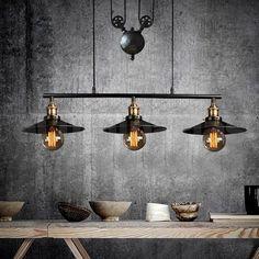 Pendente Retro Industrial Trio Preto Loft Luminária Vintage Lustre Design Edison LM1706