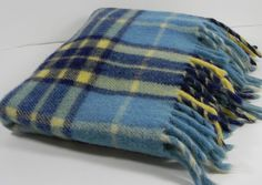 St Moritz Carldyke vintage wool blanket small yellow blue tartan plaid NY in | eBay