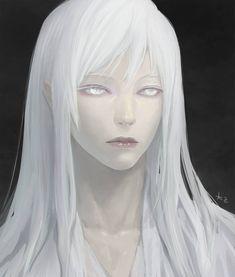 White Face by chalii on DeviantArt White Hair Anime Guy, White Hair Men, Anime Guy Long Hair, Long White Hair, Anime Hair, Silver Hair Girl, Long Silver Hair, Character Portraits, Character Art