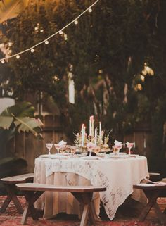 Wedding Reception, Cafe Lighting, Candlesticks, Bench Seating, via Utterly Engaged