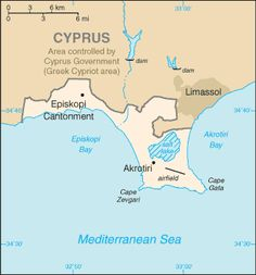 Map of Akrotiri, Western Sovereign Base Area, BFPO Base Areas of Akrotiri and Dhekelia (UK) List Of Countries, Countries Of The World, Akrotiri And Dhekelia, British Overseas Territories, Bay Lake, Country Maps, Limassol, Kingdom Of Great Britain, Europe