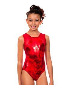 Look at this Red Shimmer Raiya Leotard - Girls d62879a9a03