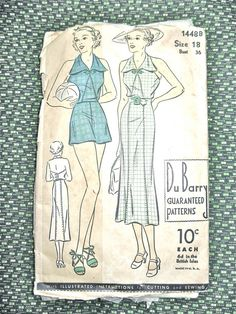 1930s halter skirt and shorts sewing pattern by Du by Fancywork, $69.00