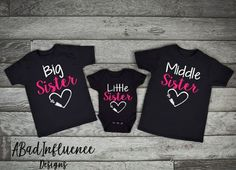 3 Sister Shirts Big Middle Little Sister Set of 3 Matching Sister Shirts Cute Sister, Big Sister Little Sister, Baby Sister, Big Sister Shirts, Little Sisters, Sibling Shirts, Kids Shirts, Sibling Photo Shoots, Toddler Outfits