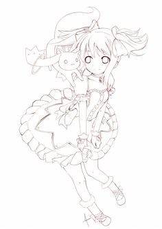 Puella magi Madoka magica bw by Kenneos Cute Coloring Pages, Animal Coloring Pages, Coloring Books, Drawing Base, Manga Drawing, Cool Art Drawings, Art Sketches, Lineart Anime, Manga Anime