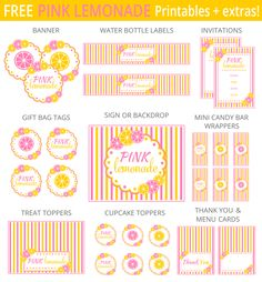 Free Pink Lemonade Printables + extras!  Designed by @printabelle #summertime #party #lemonade