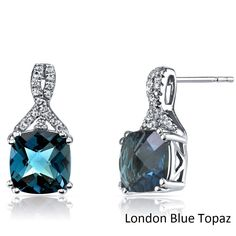 Oravo 14k White Gold Ribbon Design Cushion Cut Gemstone Earrings