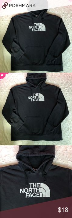 The North Face Men's Pullover Hoodie Size XXLARGE, Pullover Hoodie, Black with white lettering on front, back is solid color, front pockets, tiny brown stain on bottom right side of hem (see labeled photo), no rips, no holes, just normal color fade and pilling from wash and wear The North Face Shirts Sweatshirts & Hoodies