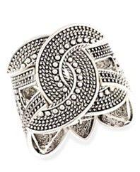 INC International Concepts Bracelet, Silver-Tone Textured Stretch Bracelet
