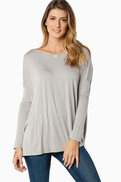 Cozy Long Sleeve Top in Chelsea Grey by Piko / ShopSosie #shopsosie #sosie