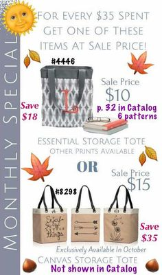 Thirty One Customer Special for October!  Grocery shopping, farmers market, garden, toy bag, on the go bag, and so much more! Make it mean more, by giving one of these as a gift!