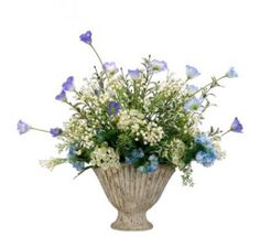 Blue and Cream Small Silk Flower Arrangment with Snowball and Queen Annes Lace ARWF1300