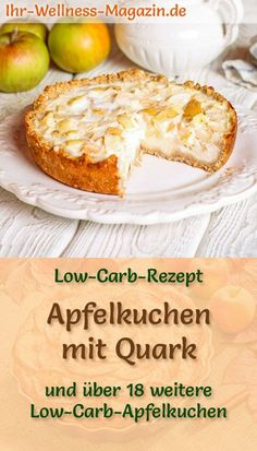 Low-carb apple pie with curd cheese - recipe without sugar- Simple apple pie with quark: quick, healthy low-carb recipe for juicy apple quark pie without sugar – baked with almond flour, walnuts and cream cheese with reduced calories … cake Apple Recipes Low Carb, Quark Recipes, Lamb Recipes, Low Carb Desserts, Healthy Dessert Recipes, Calories Apple, Law Carb, Cottage Cheese Recipes, Low Carb Recipes