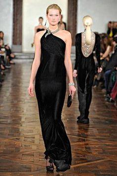 Karlie Kloss wearing Ralph Lauren Fall 2012 Long Kayden Dress