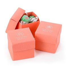 Two-Piece Favor Boxes - Coral - 17 Colors to choose from. Personalize them, mix and match lids and bottoms, embellish them with seals - there are so many ways to create unique favors with coral two-piece favor boxes.