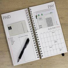 "2013 bill paying calendar by Poppytalk Handmade. ""When you get the bill in the mail, simply put it in the ""pay"" pocket and fill in the due date on the calendar. When you pay the bill, move it over to the ""paid"" side and check it off your list."""