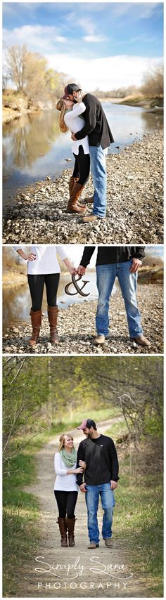 Outdoor Engagement Photo Ideas & Poses in the Spring - Kissing by the River - Ampersand Sign - Couple Walking Down a Path - Billings, MT Engagement & Wedding Photographer