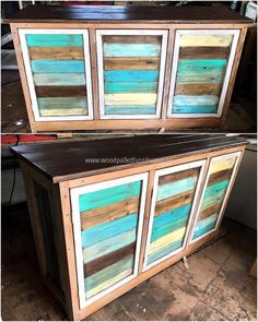 See another idea for creating a storage items for the kitchen, here is the appealing repurposed wood pallet cabinet buffet idea. The colors are making the cabinet look amazing; it will make the kitchen look attractive. This idea is not so difficult to copy and t will also not take much time in completion.