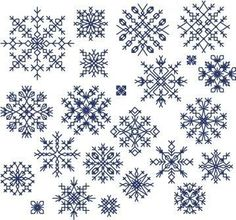 Snowflakes cross-stitch pattern preview More