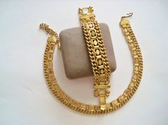 Vintage Necklace Bracelet Set Dark Gold Tone Bride Bridesmaid Wedding Jewelry…