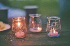 Small Candles in Mason Jars Candle Lanterns, Glass Candle, Candle Jars, Candle Holders, Fairy Lights, Tea Lights, Boho Lighting, Ideias Diy, Autumn Cozy