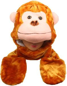 Wholesale Monkey Animal Winter Hat with Mittens (Case of 12)